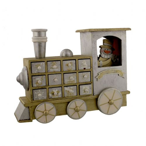 Wooden Advent Calendar With drawers - Silver & Gold Train with Snowman Countdown To Christmas Ornament